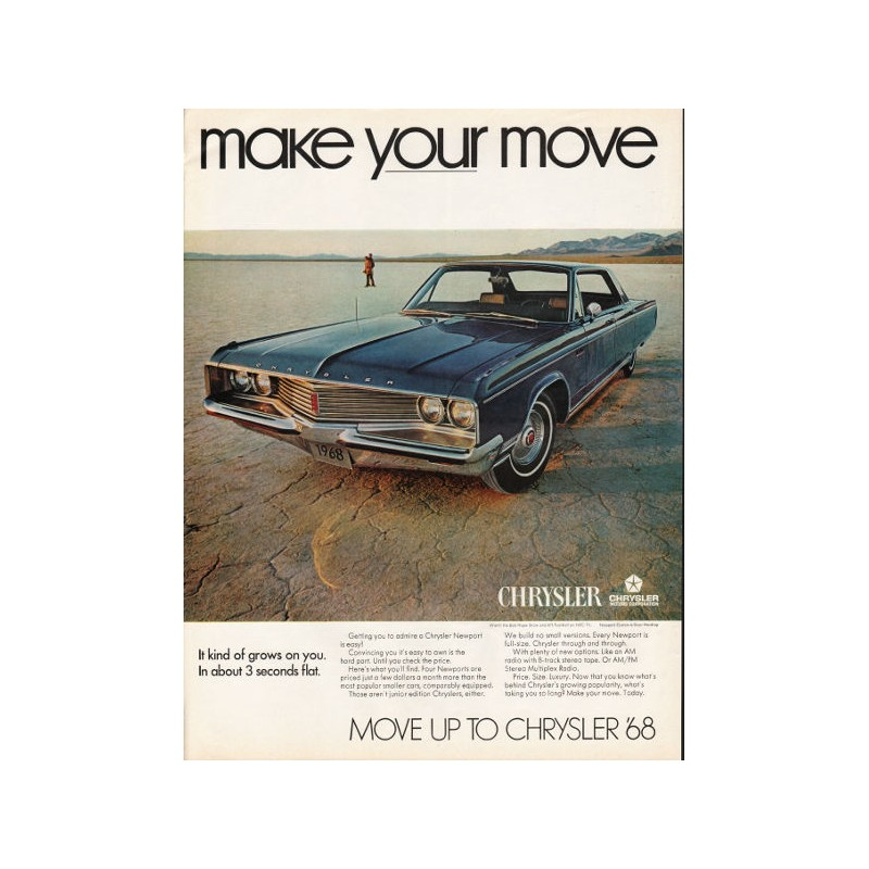 "1968 Chrysler Newport Vintage Ad ""make Your Move"""