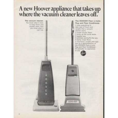 "1967 Hoover Vacuum Ad ""A new Hoover appliance"""