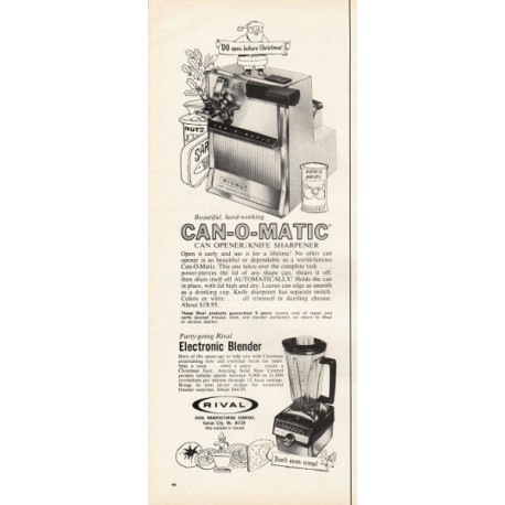 "1967 Rival Can Opener and Blender Ad ""Do open before Christmas"""