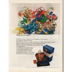 "1967 Seagram's Crown Royal Ad ""Bring your own ribbon"""