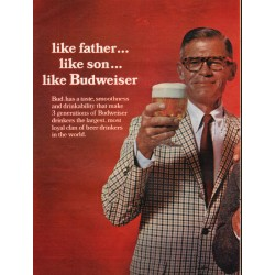 "1967 Budweiser Beer Ad ""like father ... like son"""