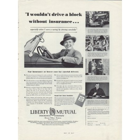 "1937 Liberty Mutual Insurance Ad ""Drive A Block"""