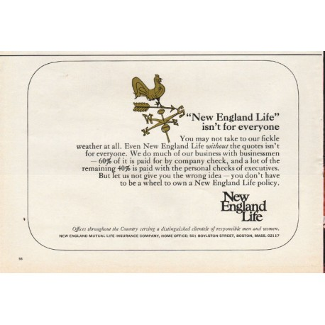 "1967 New England Life Insurance Ad ""New England Life"""