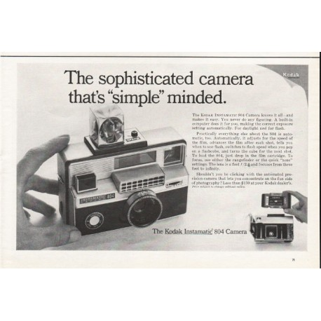 "1967 Kodak Instamatic 804 Camera Ad ""The sophisticated camera"""