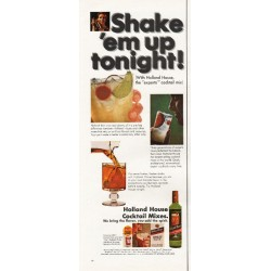 "1967 Holland House Cocktail Mixes Ad ""Shake 'em up tonight!"""