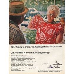 "1967 United Airlines Ad ""Mr. Fleming is giving Mrs. Fleming Hawaii"""