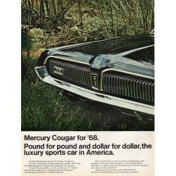 "1967 Ford Mercury Cougar Ad ""Pound for pound"" ~ (model year 1968)"