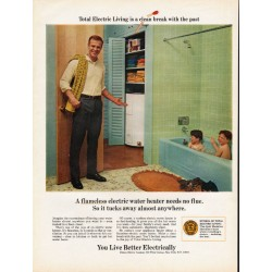 "1967 Edison Electric Institute Ad ""water heater needs no flue"""
