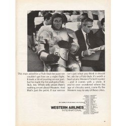 """1967 Western Airlines Ad """"This man asked for a Flub-Stub"""""""