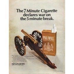 "1967 Pall Mall Cigarettes Ad ""7 Minute Cigarette declares war"""