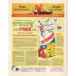 "1965 Dr. Seuss Beginner Book Dictionary Ad ""fun of books"""