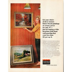 "1965 Gold Bond Fashion Grain Ad ""Robert Wood paintings"""