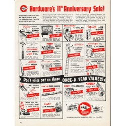 "1965 Pro Hardware Stores Ad ""Hardware's 11th Anniversary Sale!"""