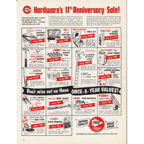 "1965 Pro Hardware Stores Ad ""Hardware's 11th Anniversary Sale!"""