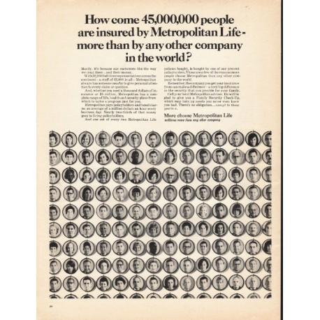 "1965 Metropolitan Life Insurance Ad ""45,000,000"""