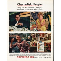 "1965 Chesterfield Cigarettes Ad ""Chesterfield People: They like a mild smoke"""