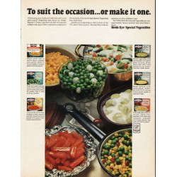 "1965 Birds Eye Vegetables Ad ""To suit the occasion"""