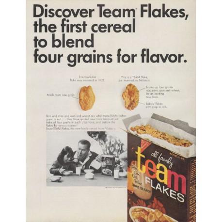 "1965 Nabisco Team Flakes Ad ""Discover Team Flakes"""