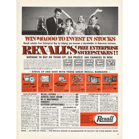 "1965 Rexall Stores Ad ""Win $10,000 to invest"""