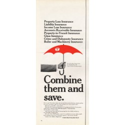 "1965 Travelers Insurance Ad ""Combine them and save"""