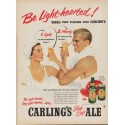 "1952 Carling's Red Cap Ale Ad ""Be Light-hearted!"""