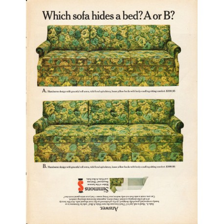 1965 Simmons Hide A Bed Sofa Vintage Ad Which Sofa Hides A Bed