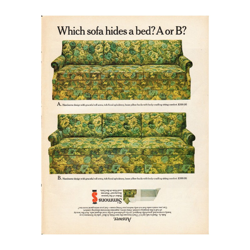 1965 Simmons Hide A Bed Sofa Ad Which Hides