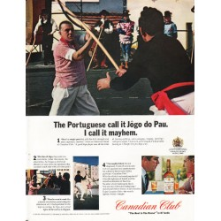 "1965 Canadian Club Whisky Ad ""The Portuguese call it Jôgo do Pau"""