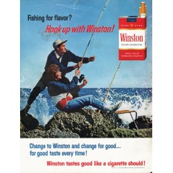 "1965 Winston Cigarettes Ad ""Fishing for flavor?"""
