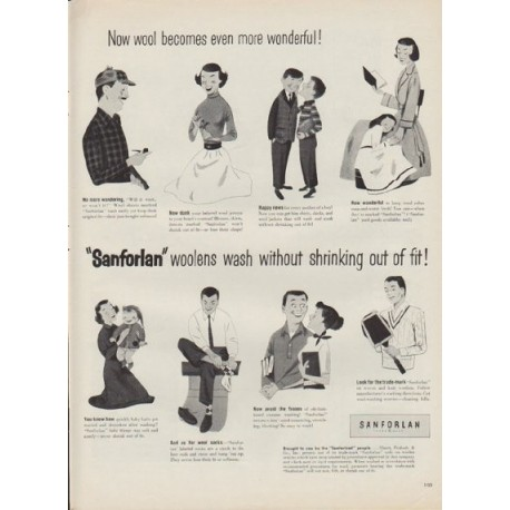 """1952 Sanforlan Ad """"Now wool becomes even more wonderful!"""""""