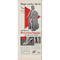 "1952 Firestone Foamex Ad ""Pamper your feet"""