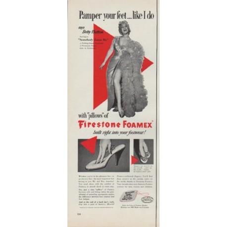 """1952 Firestone Foamex Ad """"Pamper your feet"""""""