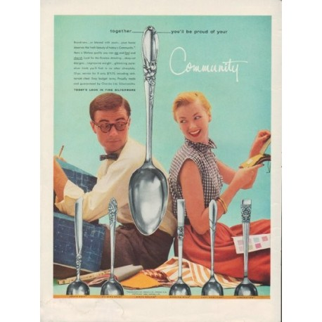 """1955 Community Silverware Ad """"you'll be proud"""""""