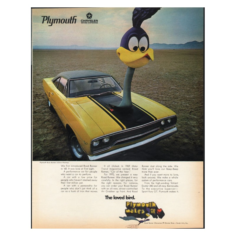 ROAD RUNNER 1969 PLYMOUTH ROADRUNNER 2door Hardtop Car Vintage Look METAL SIGN