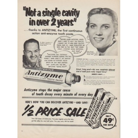 "1955 Listerine Tooth Paste Ad ""Not a single cavity"""
