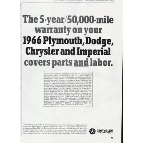 1966 Chrysler Warranty Vintage Ad