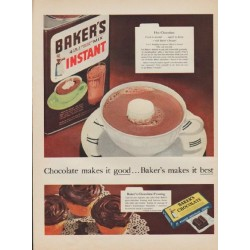 "1955 Baker's Chocolate Ad ""Chocolate makes it good"""