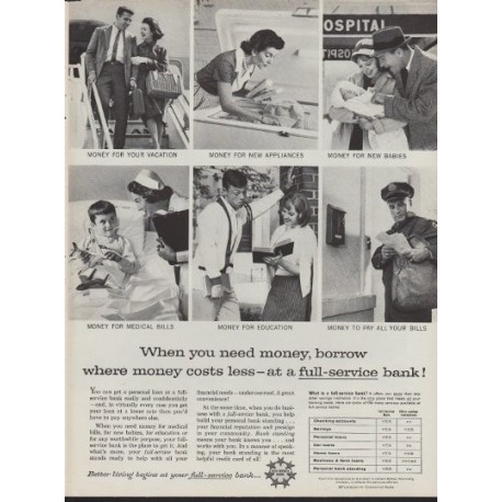 "1960 Foundation For Commercial Banks Ad ""Full-Service"""