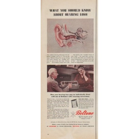"1955 Beltone Hearing Aid Co. Ad ""What you should know"""