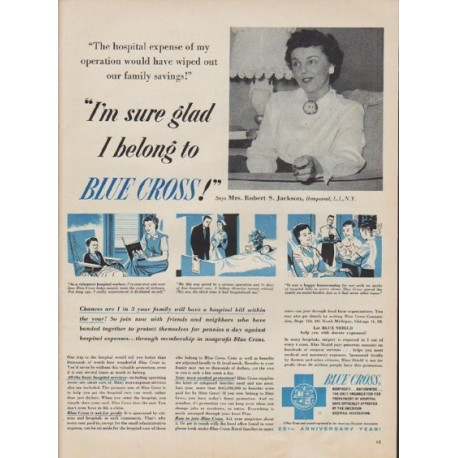 "1955 Blue Cross Ad ""I'm sure glad I belong to Blue Cross!"""