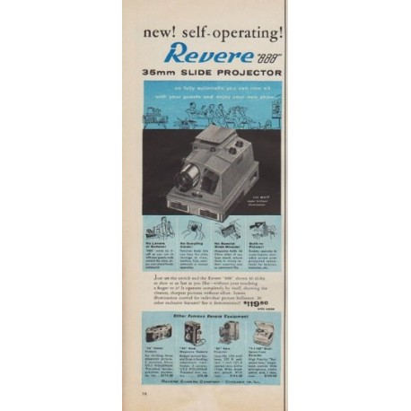 "1955 Revere Slide Projector Ad ""new! self-operating!"""