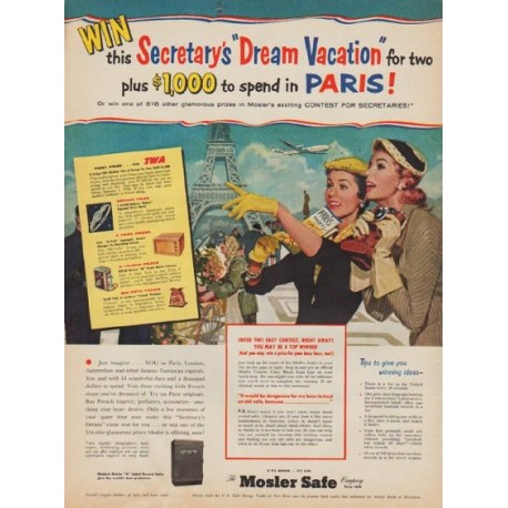 """1955 Mosler Safe Ad """"Dream Vacation"""""""