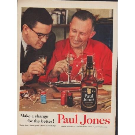 "1955 Paul Jones Whiskey Ad ""Make a change"""