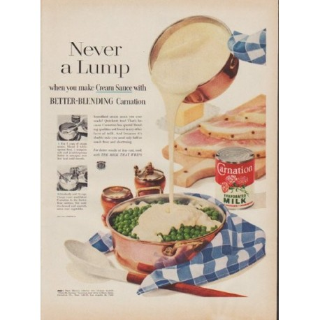"1955 Carnation Milk Ad ""Never a Lump"""