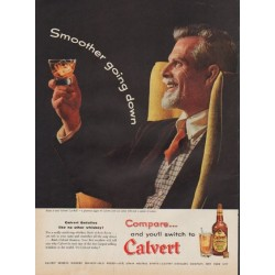 "1955 Calvert Whiskey Ad ""Smoother going down"""