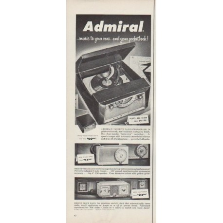 """1955 Admiral Radio Ad """"music to your ears"""""""