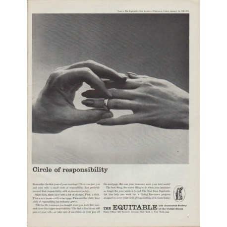 "1961 Equitable Life Assurance Society Ad ""Circle of responsibility"""