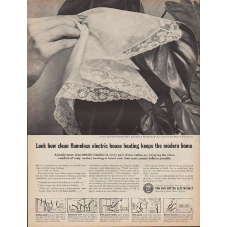 "1961 Edison Electric Institute Ad ""clean flameless electric house heating"""