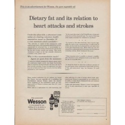 "1961 Wesson Ad ""Dietary fat and its relation to heart attacks and strokes"""
