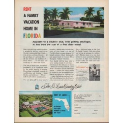 "1961 Florida Vacation Ad ""Rent a Family Vacation Home in Florida"""